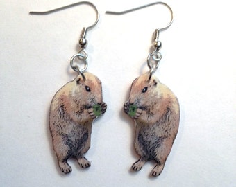 Handcrafted Plastic Groundhog Day Dangle, Hook, Clipon, Leverback, Earrings