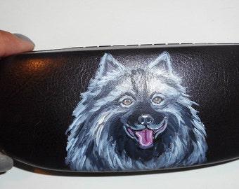 Keeshond Dog  Hand Painted Eyeglass Case Vegan