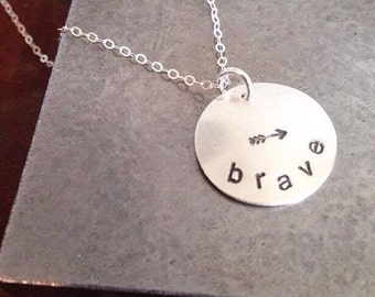 brave - Custom Hand Stamped Domed Sterling Silver Necklace with arrow