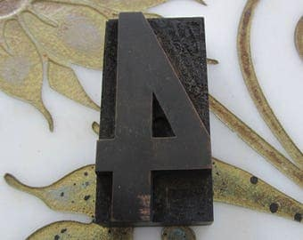 Number Four 4 Antique Letterpress Wood Type Printers Block