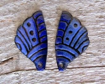 Bold Blues Enamel Butterfly Wings