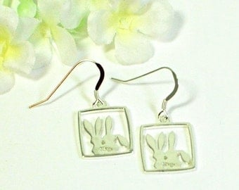 Bunny Rabbit Earrings Ginger and Snap - Sterling Silver Rabbit Earrings - Bunny Rabbit Jewelry - Pet Rabbit - Bunny Earrings