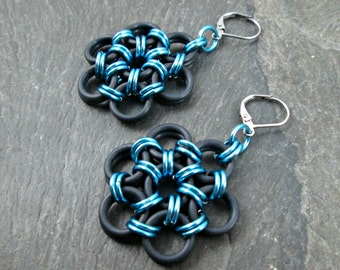 Chainmaille Earrings - Japanese Weave - Chainmail Jewelry - Blue and Black - Japanese Flower Earrings