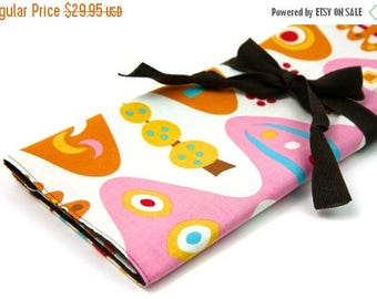 Sale Large Knitting Needle Case - Mod Trees Peach - Multi 30 brown pockets for all sizes