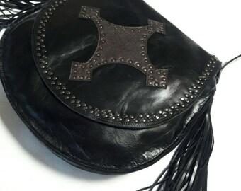 Black Studded Leather Shoulder Bag with Applique