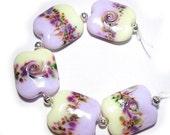 Spring Fling Sale Pale Fairy Garden Squeezed Handmade Glass Lampwork Beads