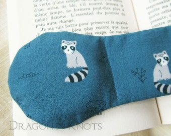 Raccoon Book Weight - blue page holder, weighted bookmark, cute sad racoon book accessory, kawaii woodland animals, trees, flowers, reading