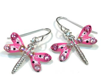 Dragonfly Earrings Sparkling Pink