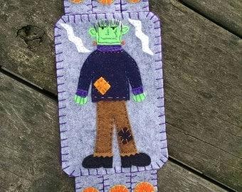 Halloween Fiber Art, Frankenstein, Pumpkin Embroidery, Fall Coffee Coaster, drink coaster, Bat art