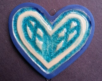 Cobalt blue and teal Ceramic and recycled glass Heart Ornament pendant