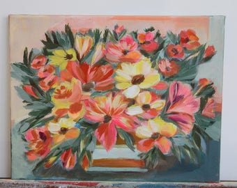 original floral painting 11x14 on stretched canvas- This One's For You