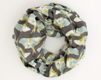 Infinity Scarf - Gray Gold Blue Luna Moths - Cotton Fashion Tube Scarf