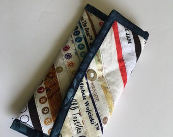 Quilted Coin Purse with Blue Trim, Selvage Strips, Scrappy, Phone case, change purse