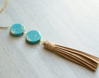 Paige - Turquoise Suede Tassel Chain Necklace