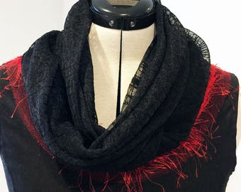 Infinity Scarf - Black Web Lace
