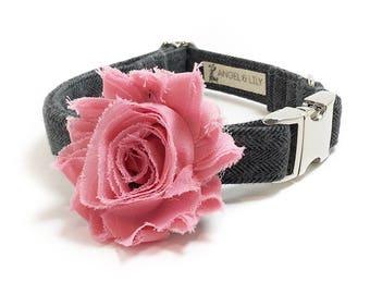 Dog Collar Flower - Dog Collar Accessory - Vintage Dog - Shabby Chic Dog - Collar Attachment - Wedding Dog - Pink Flower Collar Add On