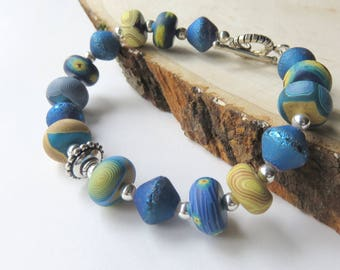 Blue Polymer Clay Bracelet,  Unique Art Inspired Bracelet, Sterling Silver Beaded Jewelry, Toggle Clasp, Handcrated Fashion Bracelet