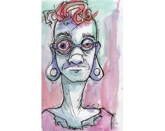Original Watercolor Illustration - crazy eyes! Art by Ela Steel - small teal purple red  lowbrow art