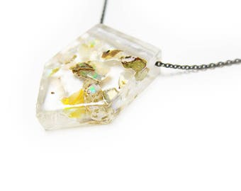 Opal Fragment Eco-Resin Raw Stone Necklace