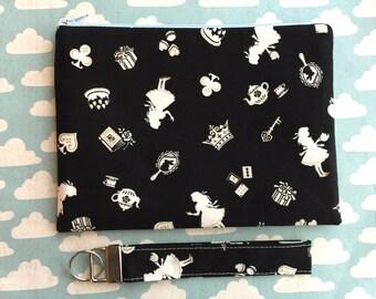 Black Makeup Bag - key FOB - Alice in Wonderland Set - Key lanyard - small clutch - black zipper pouch - Under 25 gift