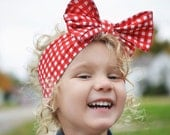 Headwrap, Girls Headwrap, Baby Girl Headwrap, Head Wrap, Girls Headband, Big Bow Headwrap, Holiday Photo Prop  -  RED & WHITE GINGHAM