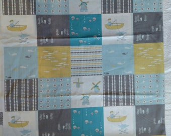 1 yard Organic Cotton Faux Patchwork Quilt. Jay-Cyn for Birch Fabrics Storyboek First Image Only