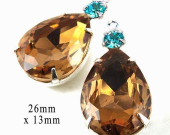Golden Smoky Topaz Teardrop Beads - Framed Glass Pendant or Earring Jewels - 26mm x 13mm - Choose Your Color - Jewelry Supply - One Pair