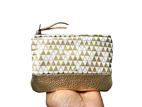 Metallic Gold Triangles Leather Pouch, Coin Purse, Change Purse, Zipper Pouch, Small Change Wallet, Coin Wallet, Gift for Her