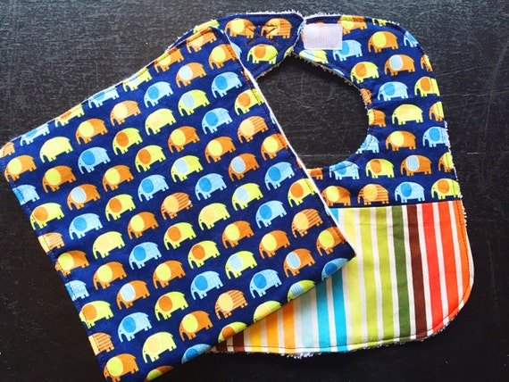 Mini Elephants Baby Bib and Burp Cloth Set, Baby Shower Gift, Baby Boy Drool Bib, Infant Bib