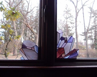 Stained Glass Crystal Amethyst Suncatchers for Window or Door Corners - Set of Two - MADE to ORDER, customize the colors