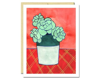 Sweet Sedum Houseplant Notecard // Single Card // Everyday Card // Cactus // Blank Notecard // Cute Card // NW Artist // Rachel Austin Card