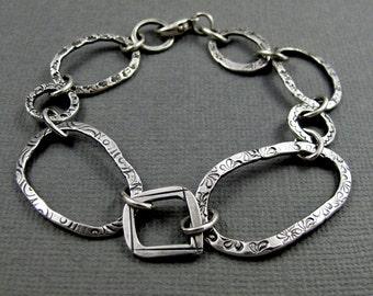 Loopy Link Bracelet - Handmade Sterling Silver Stamped Link Bracelet