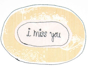 Greeting Card Blank Sewn Stitched Text Thread Romance Dating Relationships Anticipation Longing Friendship Love I Like Miss You Lonely Sad Etsy