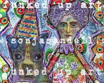 Boston Terrier Painting,DogCanvas,Altered Art,Lady Canvas,Outsider Art, Mixed Media Art,Collage Art,Outsider Art,Collage Art,Naive Art