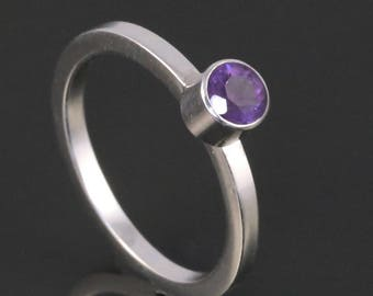 Amethyst Stacking Ring. Sterling Silver. Genuine Gemstone. February Birthstone. Ready to Ship. Size 4.25. s17r001