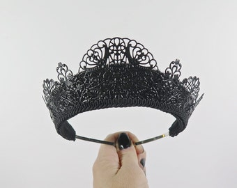 Svetlana Filigree Black Tiara - by Loschy Designs