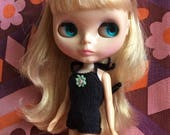 Halter Neck Swimsuit for Blythe with Daisy Flower Motif - Black
