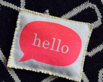 Felt Sewing Kit - HELLO Bean Bag - Original Screen Print Wool Beginner DIY