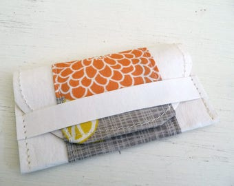 Modern Floral Cotton Print and Kraft-Tex Gift Card Holder, Business Card Case
