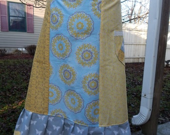Yellow Medallions A-line Skirt Hippie Patchwork Skirt Spinner skirt Festival skirt, hippie clothes, OOAK Skirt, boho chic