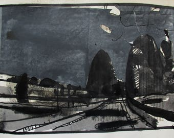 The Black Pictures, Late Road, Original Landscape Collage Drawing on Paper, Stooshinoff