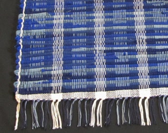 """Rag Rug """"Shades of Blue"""" Short and Sweet in Wool"""