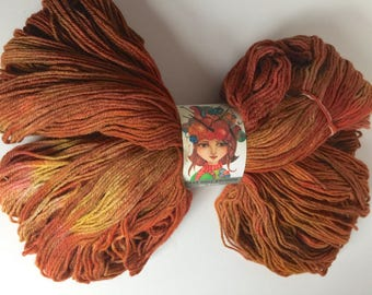 Hand Dyed, Silk and Wool, Rust Orange and Rich Warm Browns / Sock Yarn, Knitting, Crochet, Indie Dyer