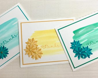 Thanks cards (10) handmade set heat embossing bright floral happy gift feminine stationery paper greeting party supplies