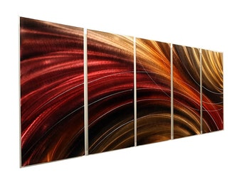 Huge Contemporary Metal Wall Art Sculpture In Red, Brown & Orange, Abstract Metal Painting, Home Decor - Cosmic Burn XL by Jon Allen