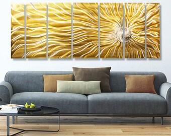 Huge Gold Multi Panel Metal Wall Art, Contemporary Indoor Outdoor Wall Sculpture, Home & Office Decor - Sunflower Burst  XL by Jon Allen