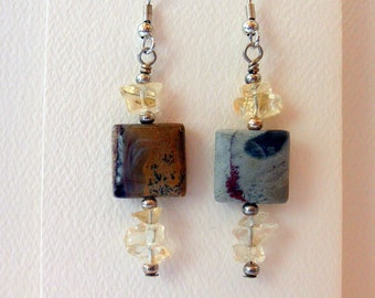 Earrings  Gemstone Earrings Dangle Earrings Red Creek Jasper Yellow Quartz Earrings #020