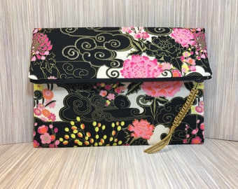 WOMAN'S CLUTCH PURSE / Foldover Clutch Bag, Alfred Shaheen, fabric clutch, envelope clutch, zipper clutch, Summer purse, evening bag