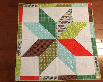 LONE STAR Baby Quilt - Handmade Baby Quilt - Keepsake Quilt - Modern Baby Quilt - Baby Blanket - OOAK - Unisex