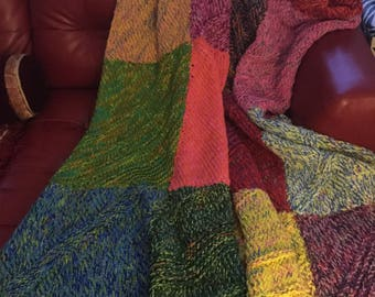 Heavy Hand Dyed and Knitted -Throw-Afghan-Merino